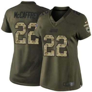 Women's Nike Carolina Panthers Christian McCaffrey Salute to Service Jersey - Green Limited