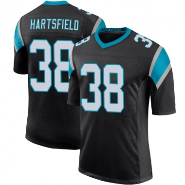 Youth Nike Carolina Panthers Myles Hartsfield Team Color 100th Vapor Untouchable Jersey - Black Limited